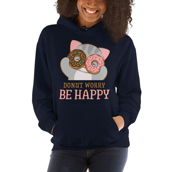 Donut Worry Be Happy Kawaii Cat Hoodie