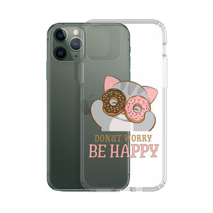 Donut Worry Be Happy Kawaii Cat Phone Case - Clear Aesthetic