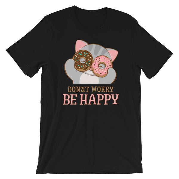 Donut Worry Be Happy Kawaii Cat T-Shirt Black