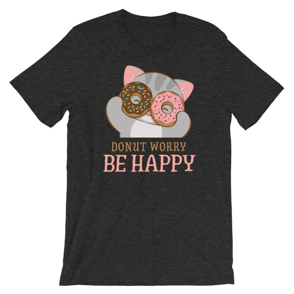 Donut Worry Be Happy Kawaii Cat T-Shirt Dark Grey Heather