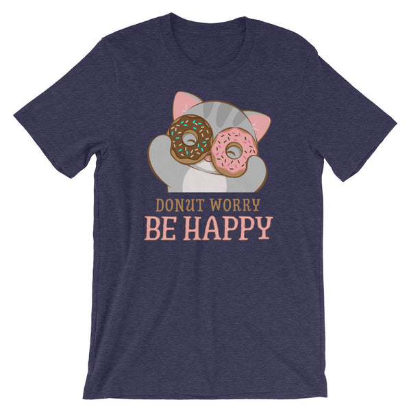 Donut Worry Be Happy Kawaii Cat T-Shirt Heather Midnight Navy
