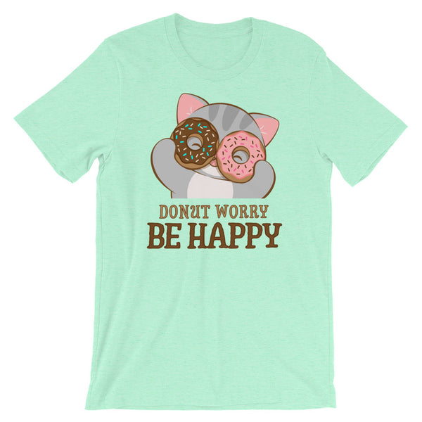 Donut Worry Be Happy Kawaii Cat T-Shirt Heather Mint