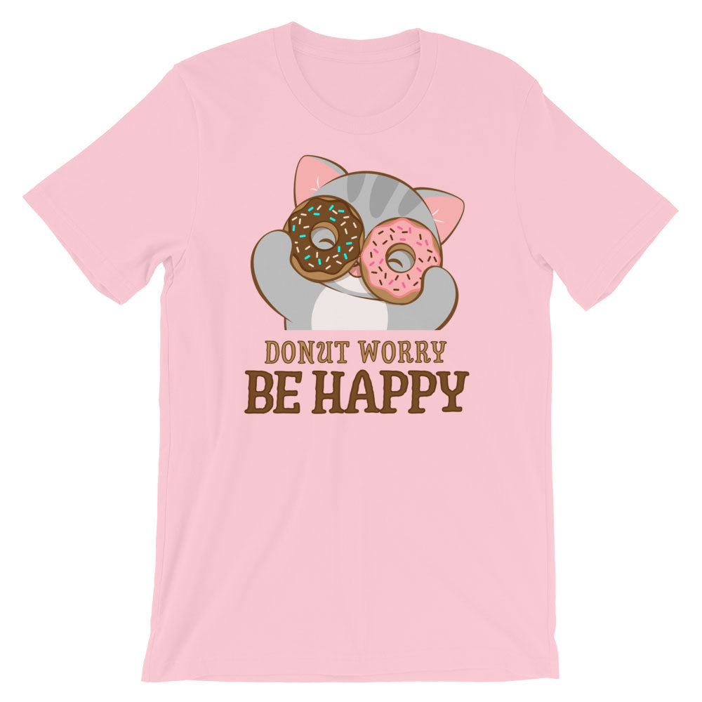 Donut Worry Be Happy Kawaii Cat T-Shirt S / Pink