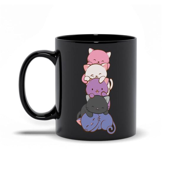 Genderfluid Pride Cute Kawaii Cat Mug Black 11 oz