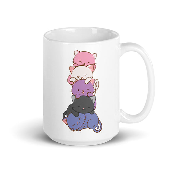Genderfluid Pride Cute Kawaii Cat Mug White 15 oz