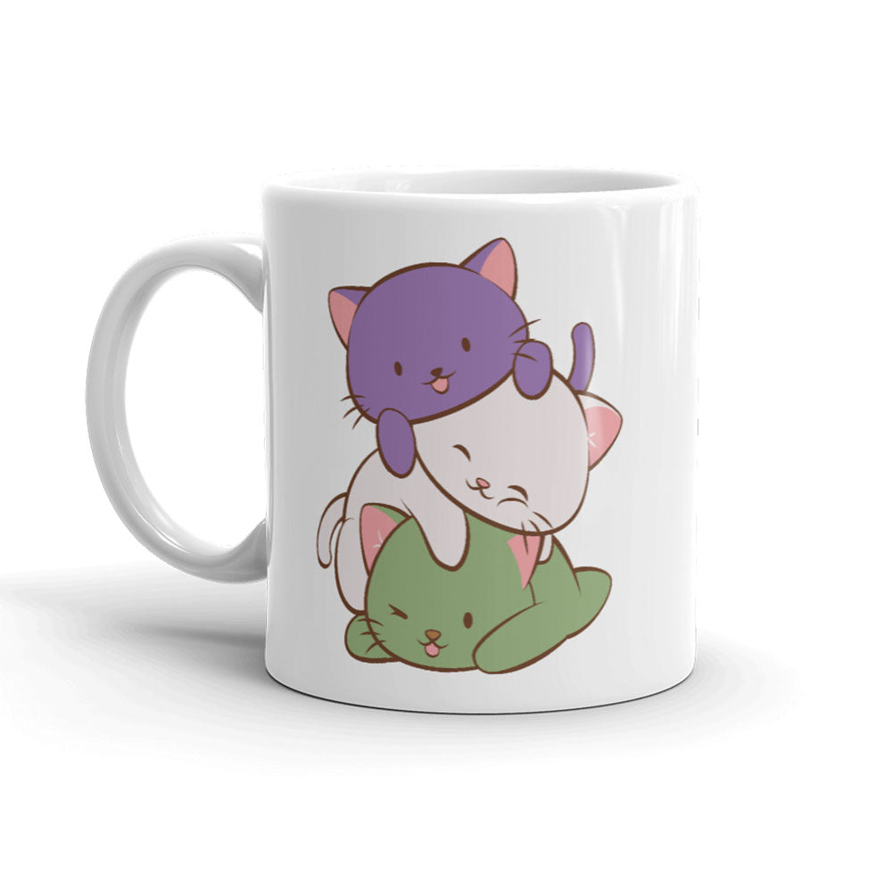 Genderqueer Pride Cute Kawaii Cat Mug 11 oz / White
