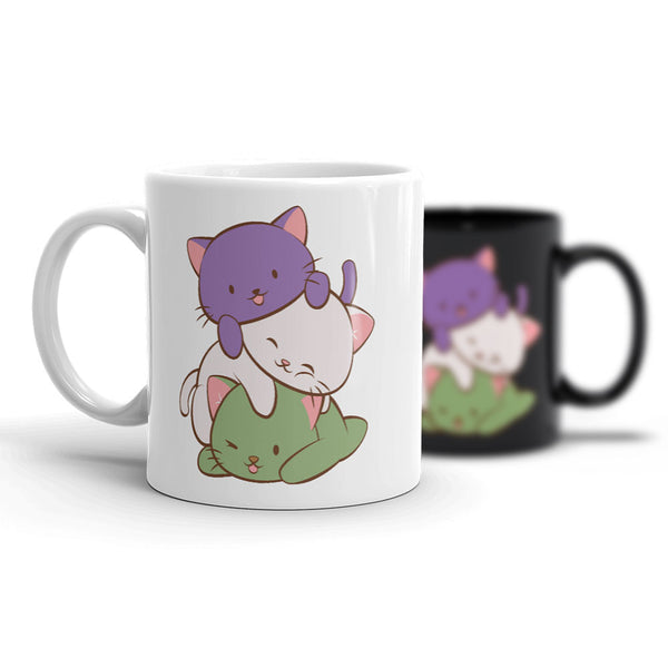 Genderqueer Pride Cute Kawaii Cat Mug