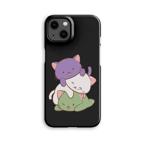 Genderqueer Pride Kawaii Cat Phone Case - Black