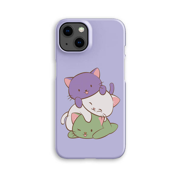 Genderqueer Pride Kawaii Cat Phone Case - Purple