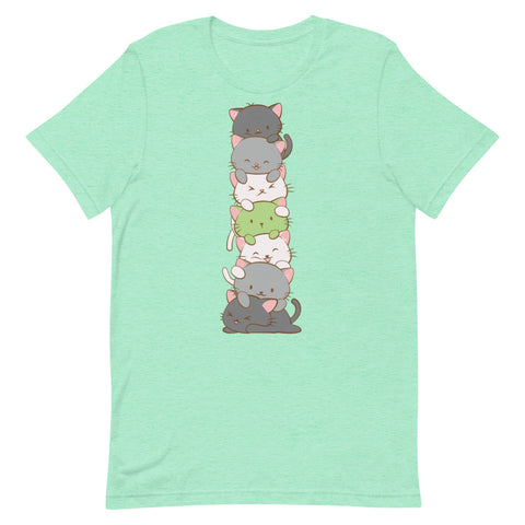 Kawaii Cat Pile Agender Pride T-Shirt S / Heather Mint Irene Koh Studio