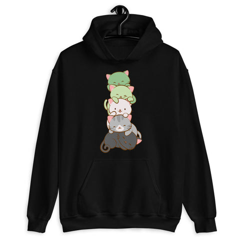 Kawaii Cat Pile Aromantic Pride Hoodie S / Black Irene Koh Studio
