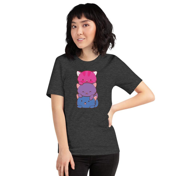Kawaii Cat Pile Bisexual Pride T-Shirt