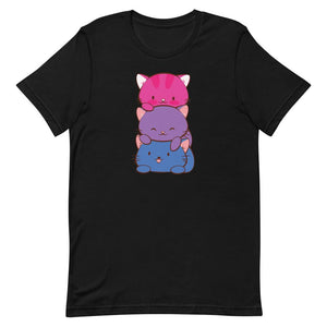 Kawaii Cat Pile Bisexual Pride T-Shirt S / Black