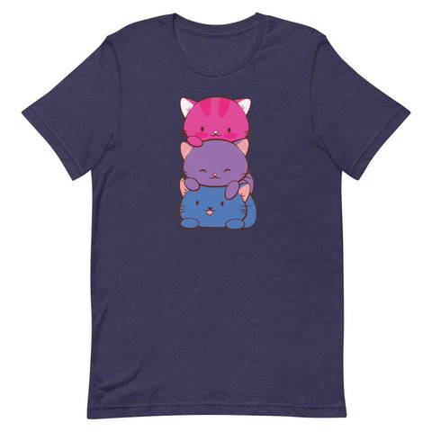 Kawaii Cat Pile Bisexual Pride T-Shirt S / Heather Midnight Navy
