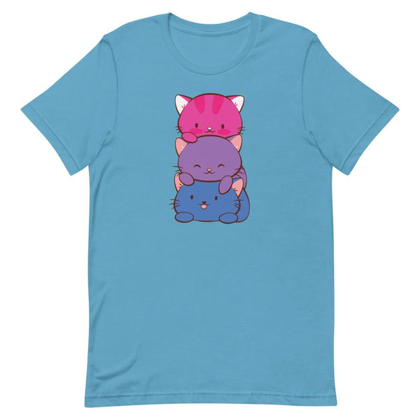 Kawaii Cat Pile Bisexual Pride T-Shirt S / Ocean Blue