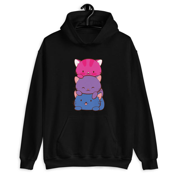Kawaii Cat Pile Bisexual Pride Hoodie Black / S