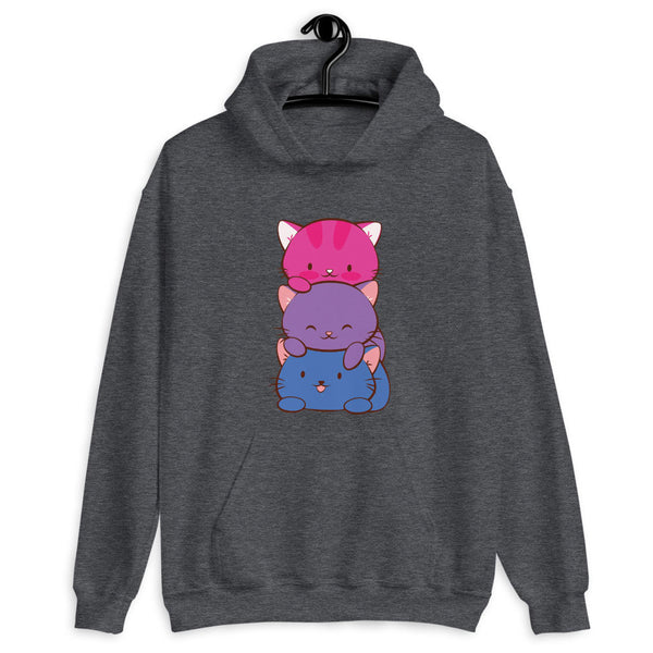 Kawaii Cat Pile Bisexual Pride Hoodie Dark Heather / S