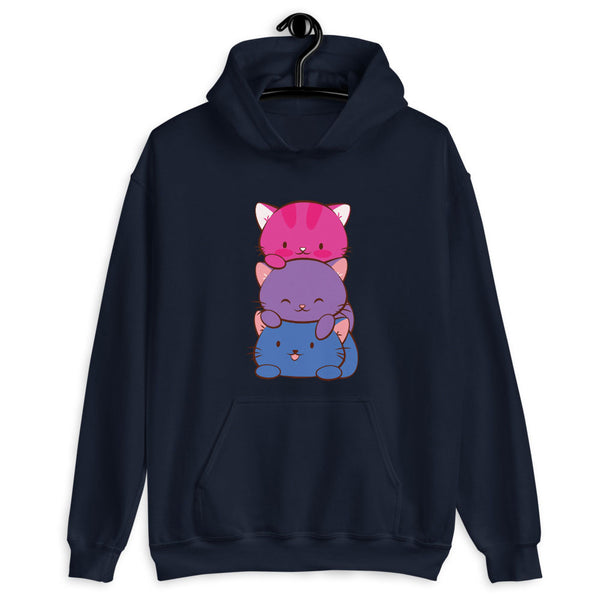 Kawaii Cat Pile Bisexual Pride Hoodie Navy / S