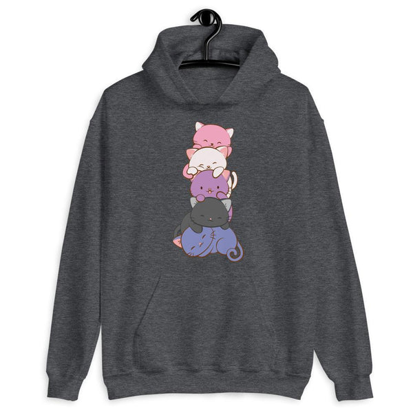 Kawaii Cat Pile Genderfluid Pride Hoodie Dark Heather / S Irene Koh Studio