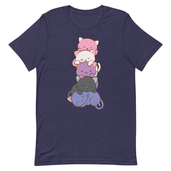 Kawaii Cat Pile Genderfluid Pride T-Shirt S / Heather Midnight Navy