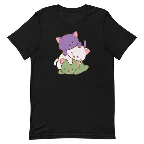 Kawaii Cat Pile Genderqueer Pride T-Shirt S / Black