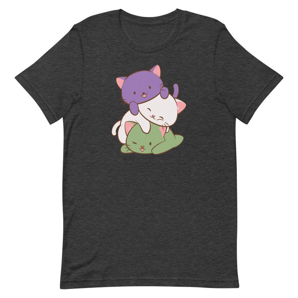Kawaii Cat Pile Genderqueer Pride T-Shirt S / Dark Grey Heather Irene Koh Studio