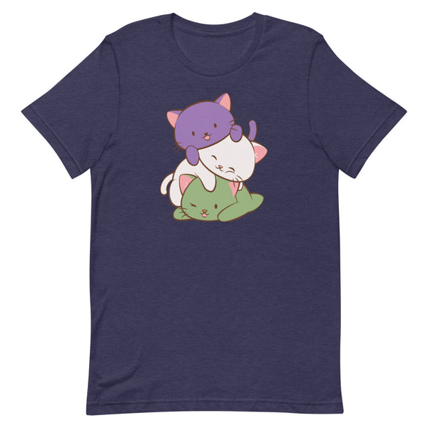 Kawaii Cat Pile Genderqueer Pride T-Shirt S / Heather Midnight Navy Irene Koh Studio