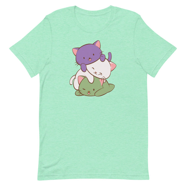 Kawaii Cat Pile Genderqueer Pride T-Shirt S / Heather Mint Irene Koh Studio
