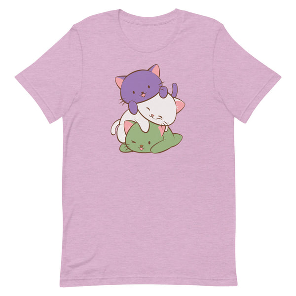 Kawaii Cat Pile Genderqueer Pride T-Shirt S / Heather Prism Lilac Irene Koh Studio