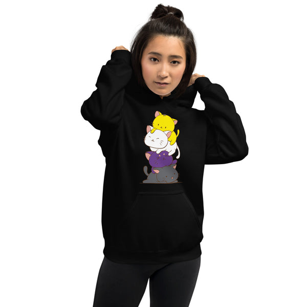 Kawaii Cat Pile Non-Binary Pride Hoodie