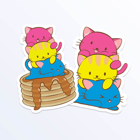 Kawaii Cat Pile Pansexual Stickers