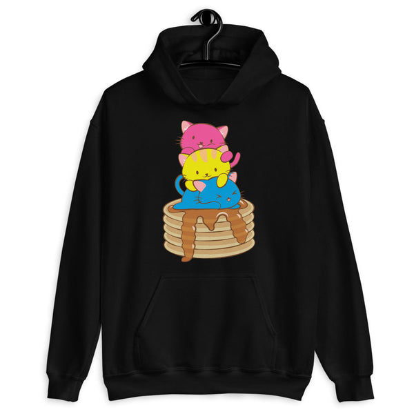 Kawaii Cat Pile Pansexual Pride Hoodie Black / S