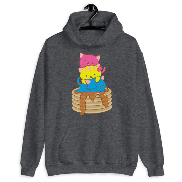 Kawaii Cat Pile Pansexual Pride Hoodie Dark Heather / S