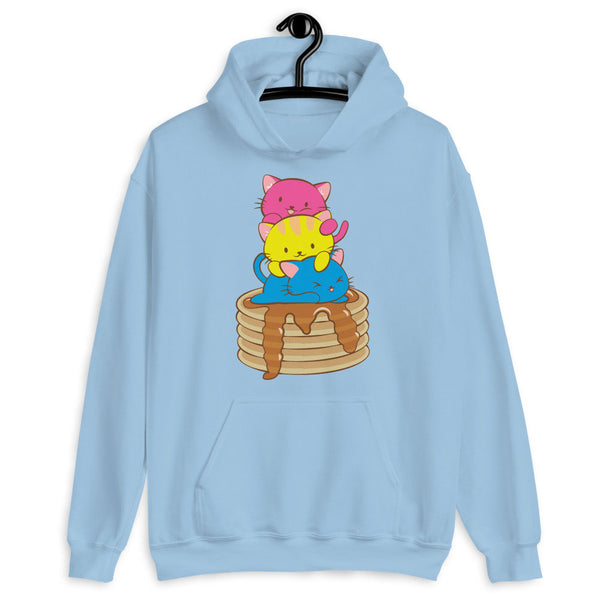 Kawaii Cat Pile Pansexual Pride Hoodie Light Blue / S