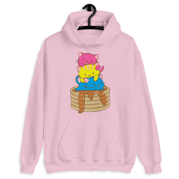 Kawaii Cat Pile Pansexual Pride Hoodie Light Pink / S