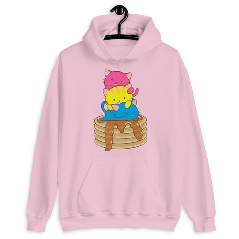Kawaii Cat Pile Pansexual Pride Hoodie Light Pink / S Irene Koh Studio