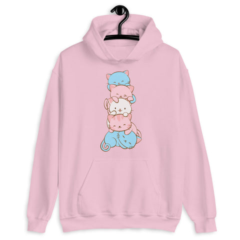 Kawaii Cat Pile Transgender Pride Hoodie Light Pink / S Irene Koh Studio