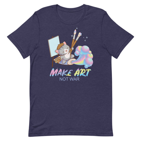 Make Art Not War Kawaii Cat Artist T-shirt S / Heather Midnight Navy