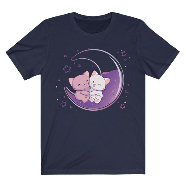 Kawaii Cats on Purple Moon T-shirt - Navy