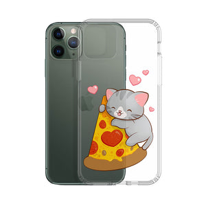 Kawaii Pizza Cat Phone Case - Clear Aesthetic