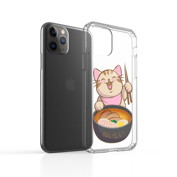 Kawaii Ramen Cat Phone Case - Clear Aesthetic Handphone Cover