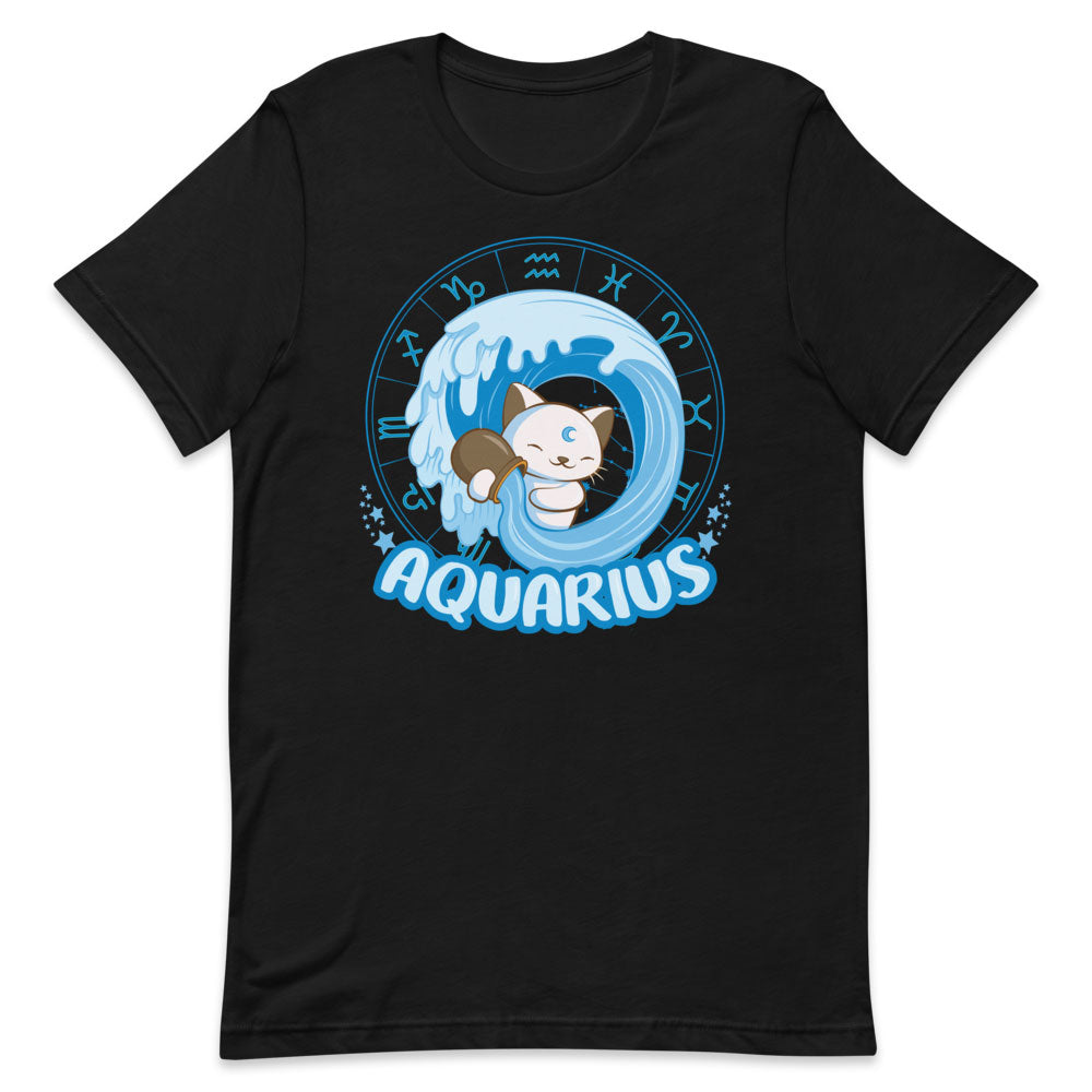 Kawaii Zodiac Cat Aquarius Shirt - Black and blue