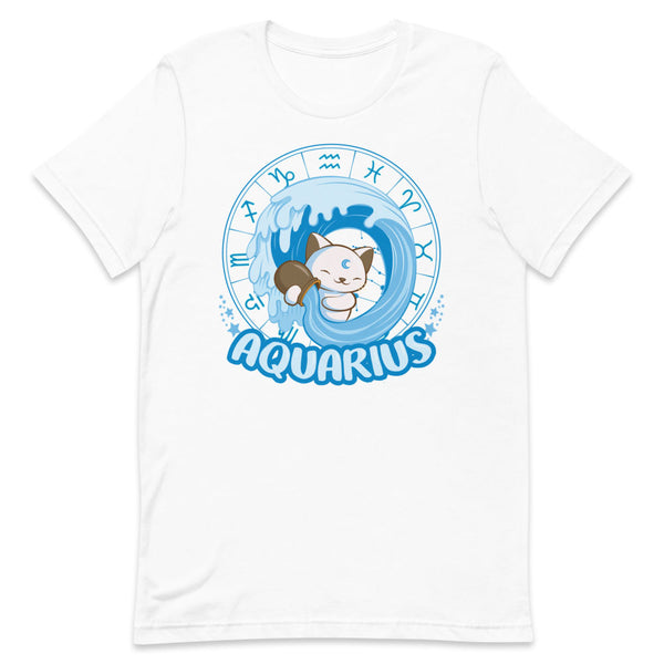 Kawaii Zodiac Cat Aquarius Shirt - White and blue