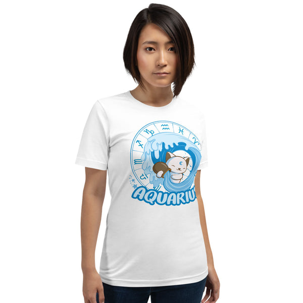 Kawaii Zodiac Cat Aquarius Shirt Women