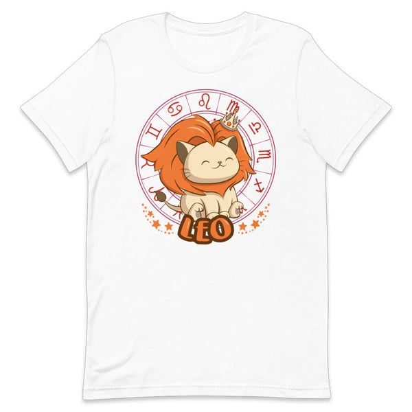 Kawaii Zodiac Cat Leo Shirt - White and Orange