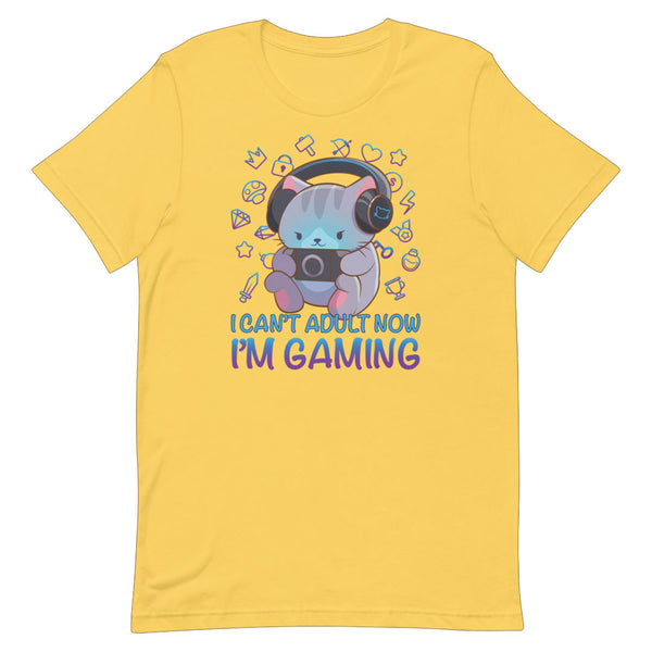 Kawaii Gaming Cat Funny Video Game T-shirt for Gamers S / Yellow Irene Koh Studio