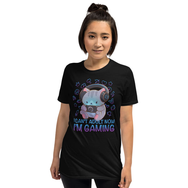 Kawaii Gaming Cat Funny Video Game T-shirt for Gamers Irene Koh Studio