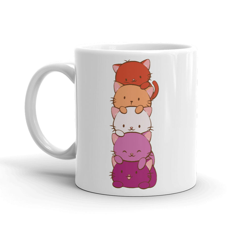Lesbian Pride Cute Kawaii Cat Mug White 11 oz