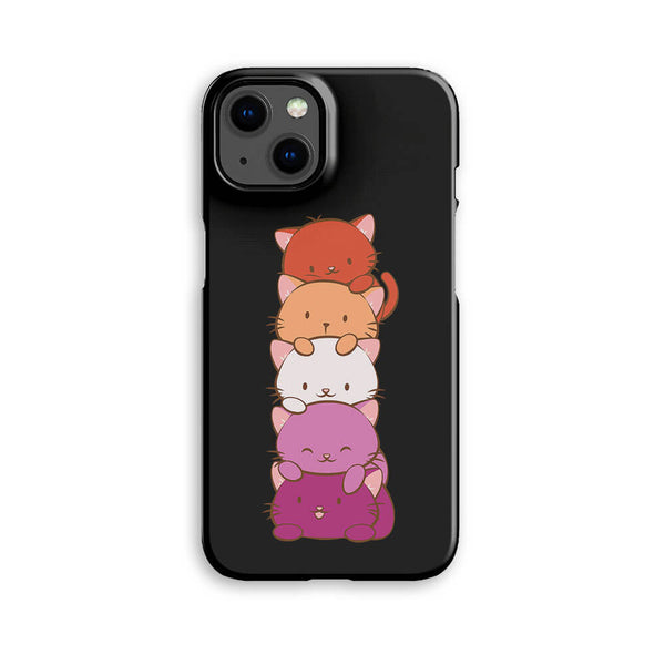 Lesbian Pride Kawaii Cat Phone Case - Black