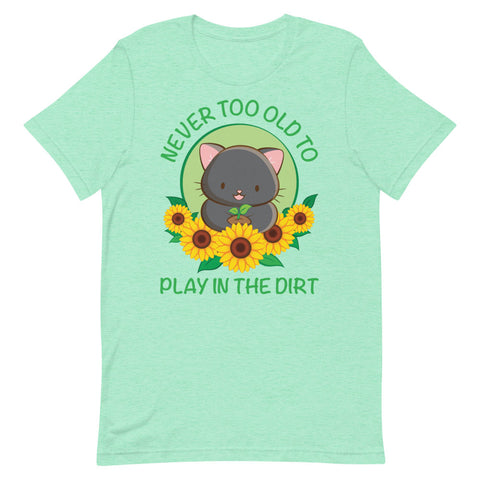 Never Too Old to Play in the Dirt Kawaii Cat Gardening T-shirt S / Heather Mint Irene Koh Studio